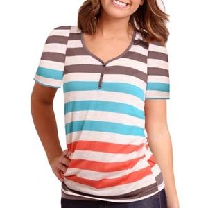 Striped Button Embellished Tee